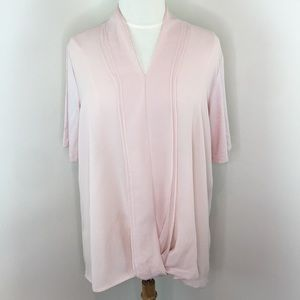 H by Halston Pink Short Sleeve Blouse
